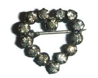 Edwardian Heart Rhinestone Brooch Pin Tiny Antique Victorian Valentine Broach, Sweetheart Anniversary Vintage Bridal Wedding Jewelry Gift