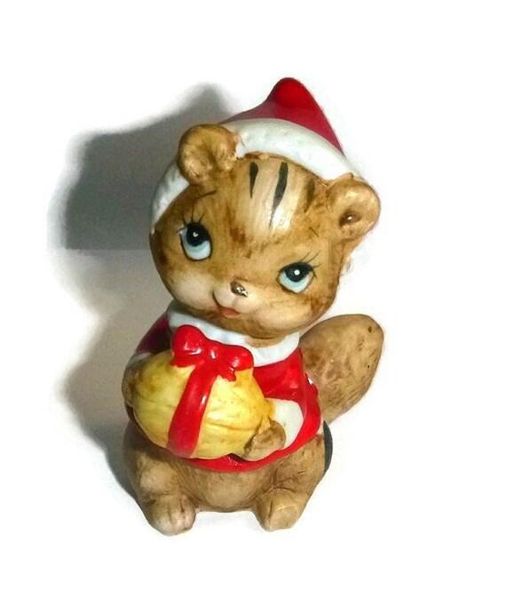 Santa chipmunk christmas figurine by popcornvintagebytann