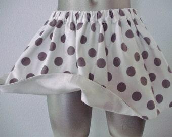 White & Gray Polka Dot Toddler Twirl Skirt, Gray Polka Dot Baby Skirt, White and Gray Polka Dot Girls Twirly Skirt, Fully Lined, Size 2T-3T