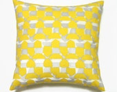 Yellow Pillow, 16x16 Pillow Cover, Decorative Pillows, Gray Geometric Pillows, Modern Pillow Covers, Nate Berkus Caicos Paramount Sulfur