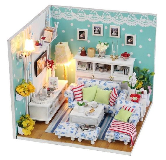 Dollhouse Miniature Roombox Sitting Room: Miniature Dollhouse DIY Kit The Dream Room Living Room
