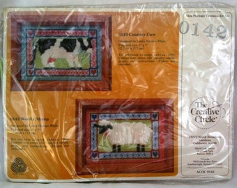 Creative Circle Woolly Sheep Long Stitch Kit New 1985 Linda Harlan White  b14