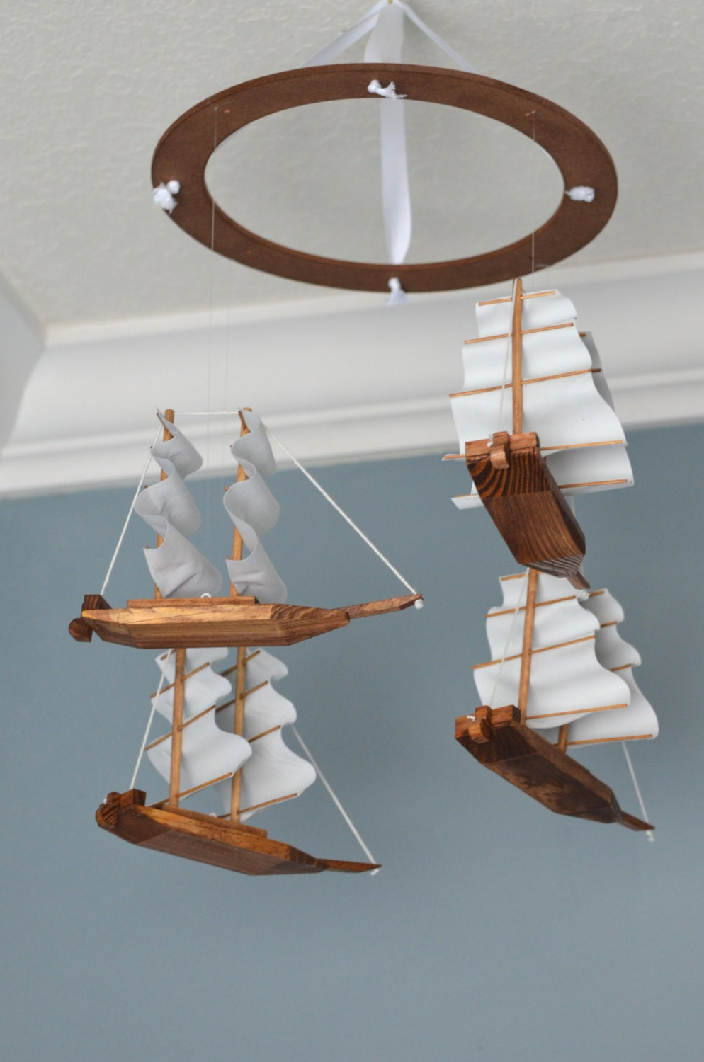 Nautical nursery mobile wood fabric ship boat pirateship for Nautical nursery fabric