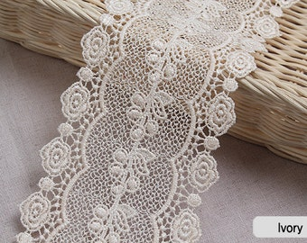 "1yds Broderie Anglaise Vintage Venice lace trim Ivory 3.7""(9.5cm) YH1084 laceking2013"
