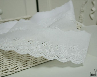 """14y Embroidery cotton Broderie Anglaise Eyelet Lace Trim white yh846 wide 7cm(2.8"""")  laceking2013"""