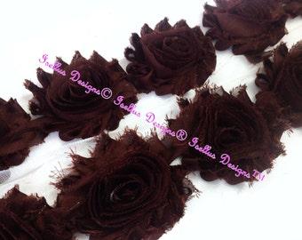 "6 Piece 2.5""  Brown Shabby Flowers"