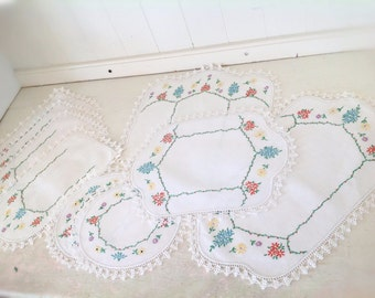 Vintage Embroidered Doilies|Chair Doilies|Chair Covers|Mid Century Furniture Doilies|Furniture Covers|Mid Century Gift Ideas|Gift for Her