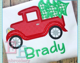 Old Timey Truck with Tree Applique - This design is to be used on an embroidery machine. Instant DownloadOld