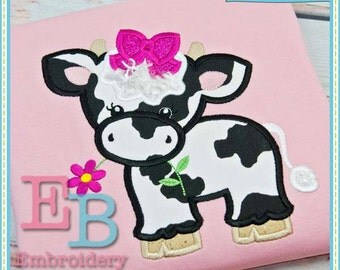 Cow with Bow Applique - This design is to be used on an embroidery machine. Instant Download