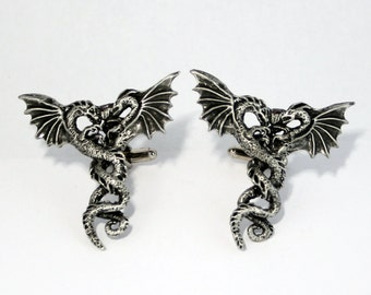 Very LARGE Statement Cufflinks, 2 Dragons, Handmade in England (H)