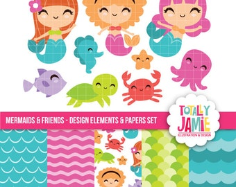 Mermaid and friends clip art and paper set / Digital Clipart - Instant Download