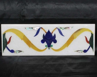 Borders & Tiles / Marble Inlay Floor Tile Hand Made semiprecious stones inlaid art
