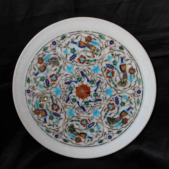 Decorative Wall Plate White Marble Micro Inlay Work Handmade