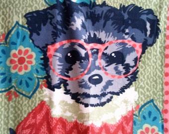 Puppy in Eyeglasses and Sweater Fleece Blanket