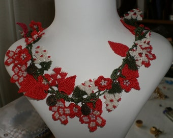Red Lace Necklace - Traditional Turkish Oya