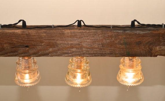 Vintage Barn Wood Hanging Light Insulators Wooden Pulley