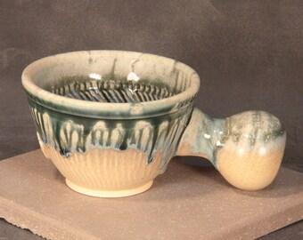 Porcelain Blend Shaving Mug, Chattered Texture, Blue Green Ash over Matte Orange Glazes