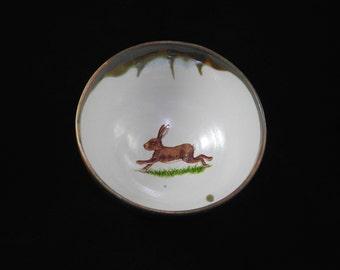 Porridge Bowl with Running Hare