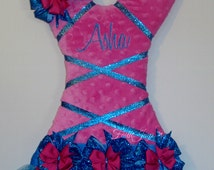 Minky Tutu Hair Bow Holder in Hot Pink and Aqua