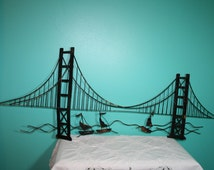 Vintage 46 Golden Gate Bridge Sailboat Metal Wall Hanging Black Paint