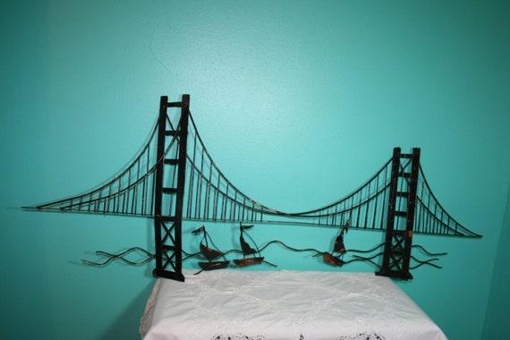 vintage46golden gate bridgesailboatmetal wall by nananicnacs. Black Bedroom Furniture Sets. Home Design Ideas