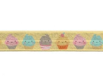 "5/8"" Yellow Cupcakes Fold Over Elastic, FOE, Print, Pattern"