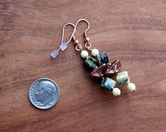 377 Long Beaded Earrings, Green Stone Earrings, Dangle Earrings, Drop Earrings, Stone Earrings, Copper Earrings, Womens Accessories