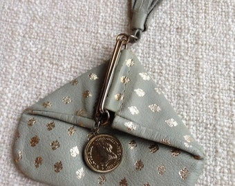Queen of spade handmade genuine leather coins pouch