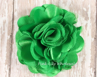 "Set of TWO, 3"" Satin Mesh Flower, Emerald Green, Satin Tulle, Tulle Flower, Satin Flower, Fluffy Flower, Tulle Mesh, DIY"