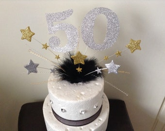 Extra large age and stars cake topper