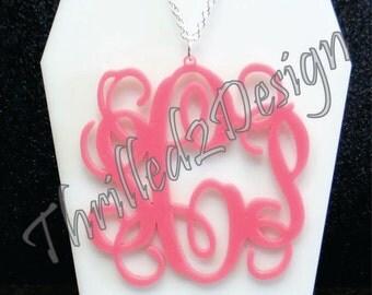2 inch Acrylic Vine Monogram Necklace - Personalize Necklace