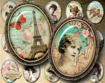 Vintage French Ovals - Oval Images - 30 x 40 mm - Cabochon - Jewelry Supplies - Magnets - Buttons