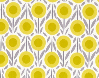 Cloud9 Flower Bed Yellow - House & Garden Collection - Organic fabric - Yellow Gray Flowers