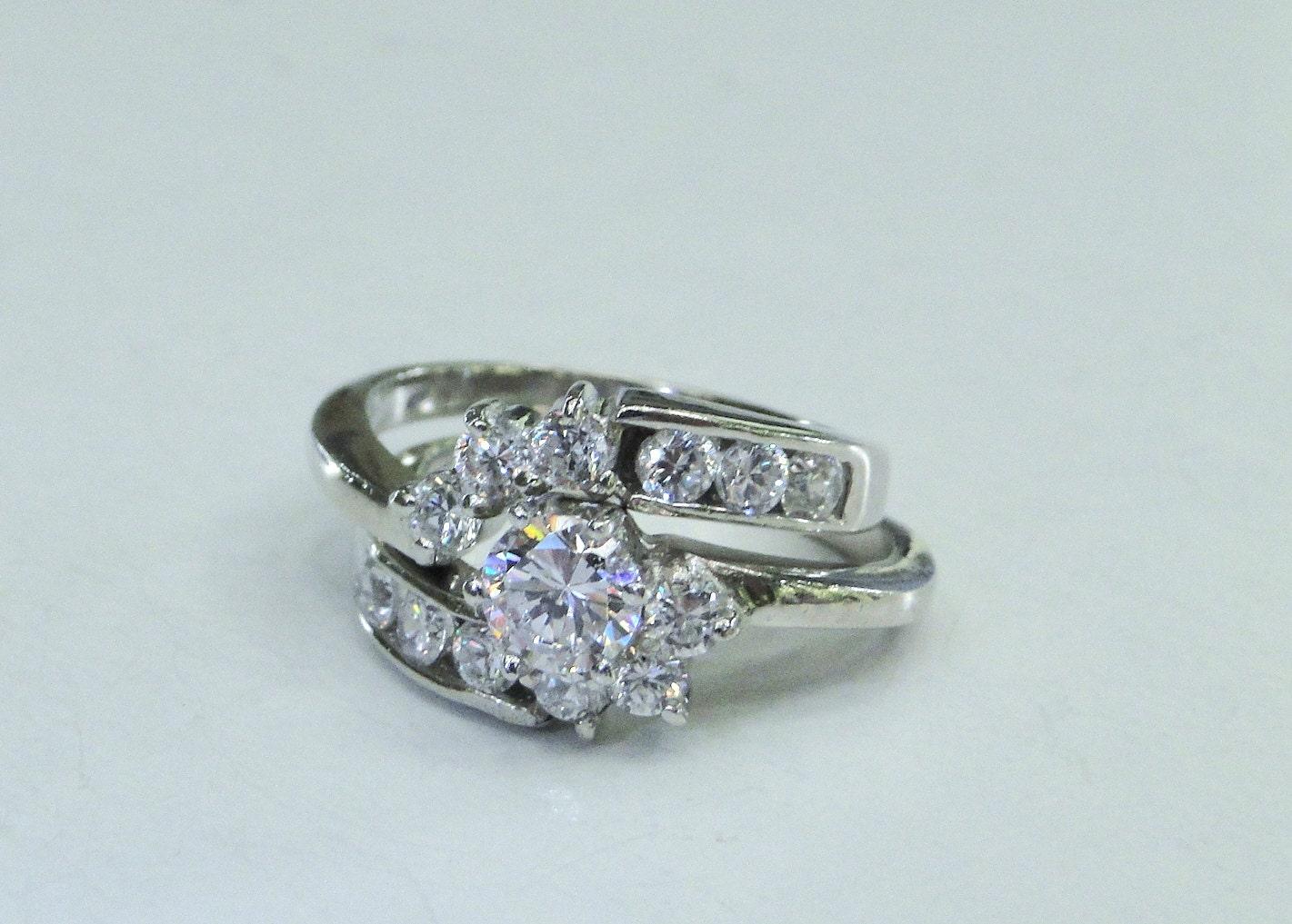 Sterling Wedding Set Vintage Engagement Ring by MyVtgJewelryShop