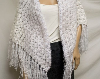 knit shawl, White ,Silver, Fringed Wrap