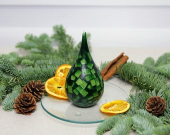 Candle, drop-shaped handmade