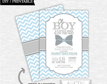 Light Blue and Grey Boy Baby Shower Mustache Invitation Little Man Baby Shower DIY Printable ( PDLM003 )