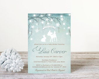 rabbit baby shower, winter wonderland baby shower invitations, enchanted forest baby shower invitation, printable file, snowflakes, WWB