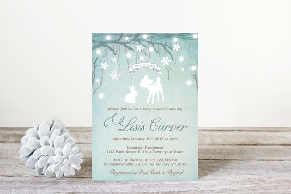 Enchanted Woodland Baby Shower Invitations, Baby Girl Shower Invites,  Snowflake Fairylights, Printable File, Enchanted Forest Invitation WWP