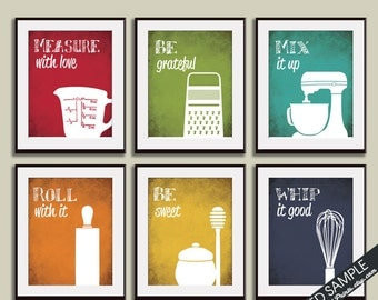 Funny Kitchen Art Print Set (Measuring Cup, Grater, Mixer, Rolling Pin, Honey and Whisk) Set of 6 - Art Prints (Featured on Assorted Colors)