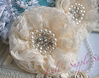 Set of 2 - Ivory Beaded Lace Flowers - Ivory Fabric Flower - Lace Beaded Flower - Parisian Chiffon Flowers