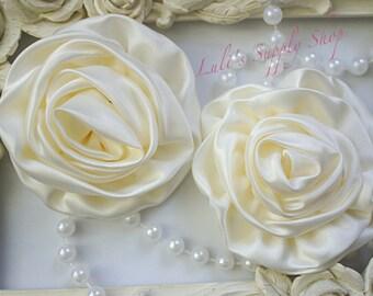 "Set of 2 - Ivory Large Satin Roses - 3"" Large Satin Rolled Flowers - Wholesale Lot - Satin Rolled Rosettes - Fabric Flowers Wholesale"
