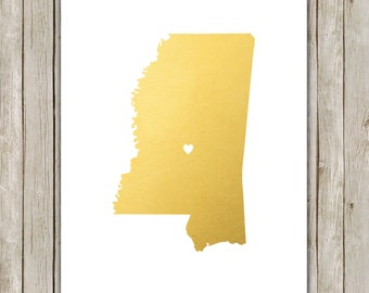 8x10 Mississippi State Print, Geography Wall Art, Metallic Gold Art, Mississippi Poster, Office Art, Home Decor, Instant Digital Download