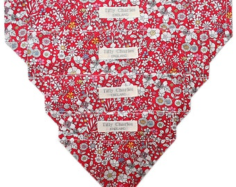 Liberty Tana lawn JUNE'S MEADOW red dog or cat slide on bandana neckerchief ideal gift *handmade in the Uk*