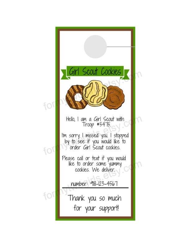 girl scout cookie sale door hanger for preorders by