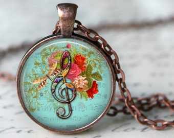 G CLEF Necklace Music & Roses necklace, music necklace, musician gift, music pendant, music lover's gift, Floral romantic blue music pendant
