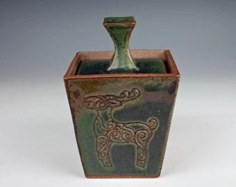 Green ceramic box, slab built, stoneware, handmade pottery box, reindeer stamped