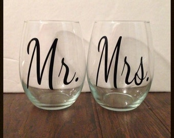 Mr. & Mrs. - Stemless Wine Glass