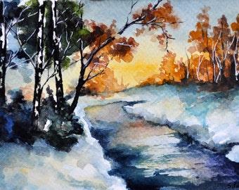 ORIGINAL Watercolor Painting, Winter Landscape Illustration, Small Format Postcard Art 4x6 inch