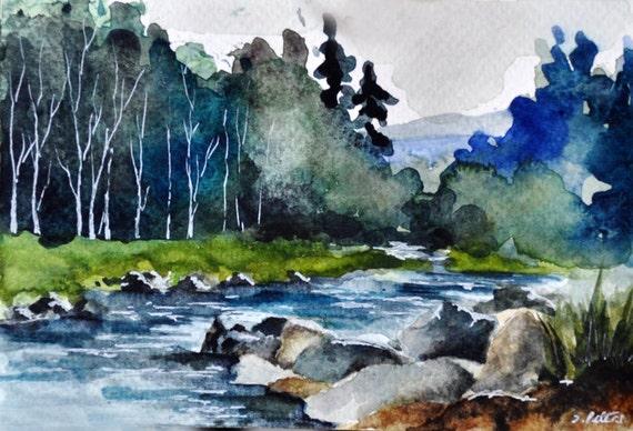 Original Peinture L 39 Aquarelle Paysage D 39 T Cours D 39 Eau